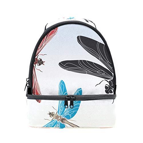 (Schulter Double Lunch Bag Libelle Schablone Vector in drei Varianten Kühler verstellbarer Gurt für Picknick)