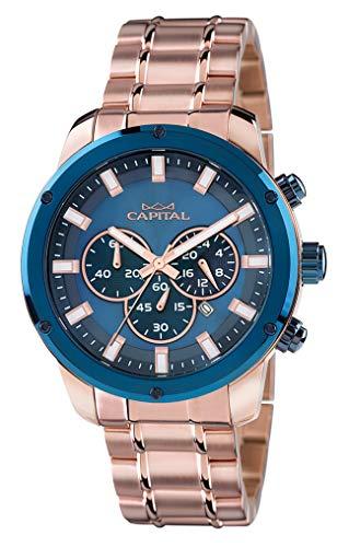 Cronografo Capital AX951, cassa e bracciale rosé, gliera blu