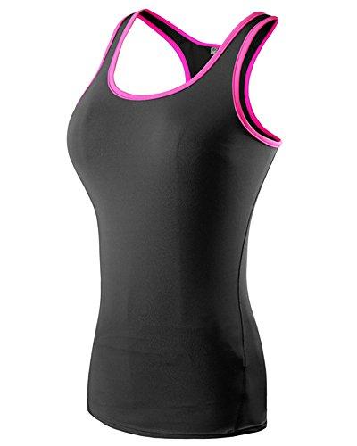 Débardeur de Compression Femme Sans Manches T-shirt Yoga Fitness Basique Top Noir Rose XL