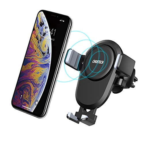CHOETECH Wireless Charger Auto, Air Vent Mount QI Handyhalterung, drahtloses Ladegerät 7.5W/10W Kompatibel mit Apple iPhone XS/XS Max/XR/X/8/8 Plus, Galaxy Note 9/S9/S9+/Note 8/S8/S8+/S7/Note 5 usw -
