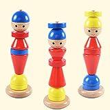 0Miaxudh apilador de madera bloquea juguetes, encantadores hombres cambiables, el anillo de construcción de piedra pedagógico juguete para niños apilado