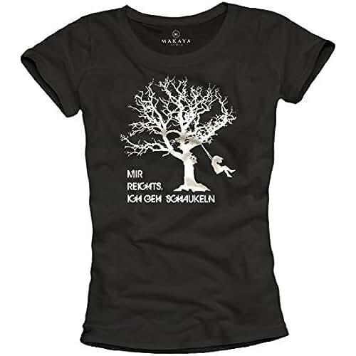 dia del orgullo friki Estoy harto, estoy columpiando - Camiseta con mensaje aleman para mujer