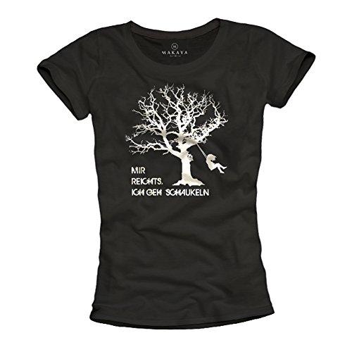 Lustiges Damen Shirt mit Spruch MIR REICHTS ICH GEH SCHAUKELN schwarz Größe S