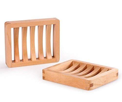 JVJ 2 Stück Holz Dusche Seifenschale Set, Holz Soap Saver Holder, Rectangle Natural Color