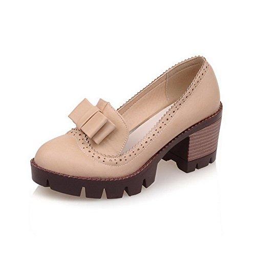 AllhqFashion Femme Couleur Unie Matière Souple à Talon Correct Tire Rond Chaussures Légeres Beige