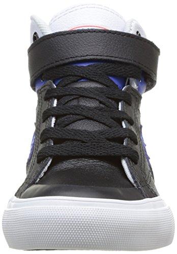 Converse Pro Blaze Junior Strap Leather Mid, Baskets mode garçon Noir (8 Noir/Bleu)