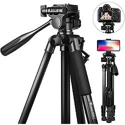 Trépied Appareil Photo pour Canon/Nikon/Sony, GooFoto 148cm Trépied Léger en Aluminium avec Sac de Transport et Clip de Téléphone, Charge Maximale de 5kg, Trépied Smartphone pour iPhone/Samsung