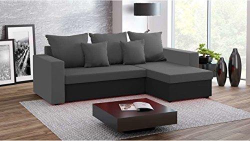 Justhome fresh iii divano angolare divano letto microfibra (lxlxa): 142x237x75 cm grigio nero penisola a destra