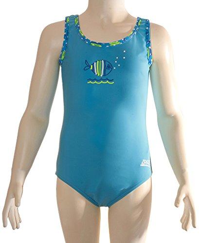 Zoggs Mädchen 's Fisch Fun Scoopback Badeanzug, Mädchen, Fish Fun Scoopback, blau (Fisch Kostüm Pool)