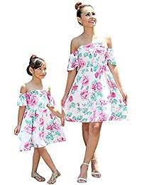 0566468a9d55 Madre Me Figlia Bambina Ragazze Vestito Corto da Donna con Scollo a Spalla  Nuda Floreale Elegant i Estivo Lungo Estivo Lungo Vestito…