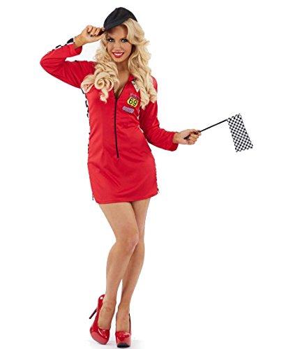 Partychimp 6079973 - Racer Girl mit 2 Zubehörteilen, S, rot