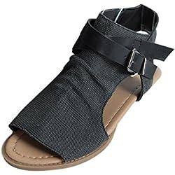 Sandalias Bohemias, Manadlian Zapatos de Mujer con Boca de Pescado Sandalias Talón Plano Tobillo Sólido Zapatilla de Correa Sandalias Para Mujers (CN:36, Negro)