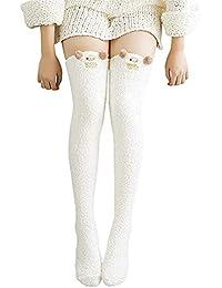 30bf3e00094 Women s Cartoon Fuzzy Socks Winter Warm Over Knee High Sock