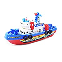 Fire Boat Electric Boat Children Electric Toy Navigation Non-Remote Warship  Water Spraying Ship Model for Toddler Kids pretend and Play Toy