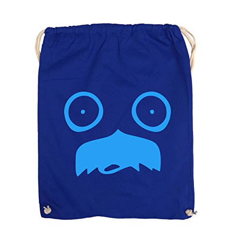 Comedy Bags - GESICHT SCHNURRBART - COMIC - Turnbeutel - 37x46cm - Farbe: Schwarz / Silber Royalblau / Blau