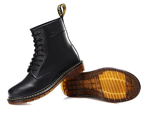 TMKOO Autunno e inverno nuova coppia di stivali casual tendenza più velluto Martin stivali in tubo di pelle bovina stivali paio modelli Black+wool