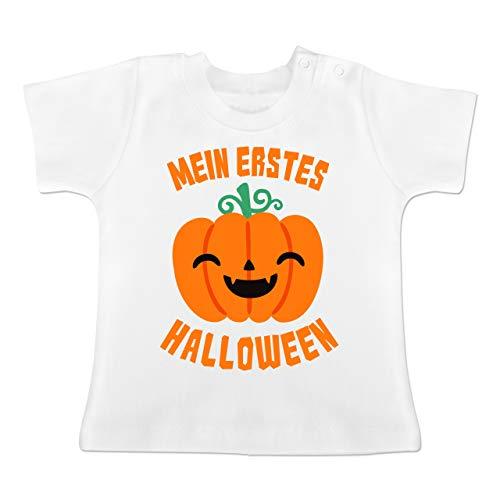 Anlässe Baby - Mein erstes Halloween Kürbis - 1-3 Monate - Weiß - BZ02 - Baby T-Shirt Kurzarm