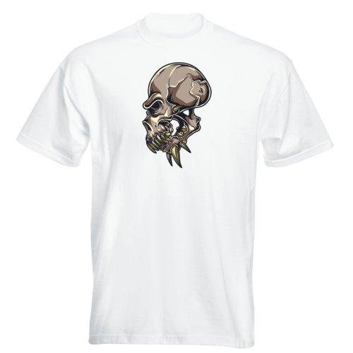 T-Shirt - Alien - Buddy Skull 03 - Totenkopf - Herren Weiß