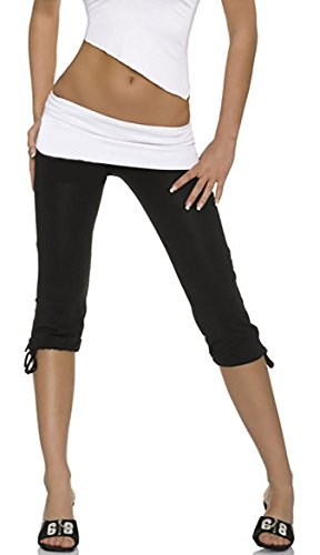 Damen Chino Capri Hose Stretch Sport leggings 3/4 Strumpfhose (400) (S, Schwarz)