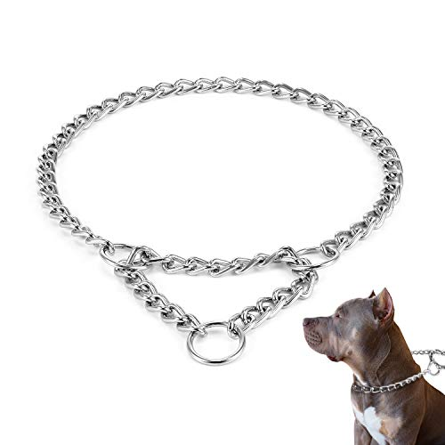 HAPPY HACHI Verstellbare Kettenhalsband Verchromte Martingale Kettenwürger Würgehalsbänder für Hunde Ausbildung Hundehalskette Grundgehorsam