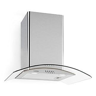 Klarstein Hotspot Campana extractora de pared (60 cm, clase A, 610 m³/h, acero inoxidable, nitída iluminación, lujosa diseño de vidrio, filtro antigrasa apto para lavavajillas)