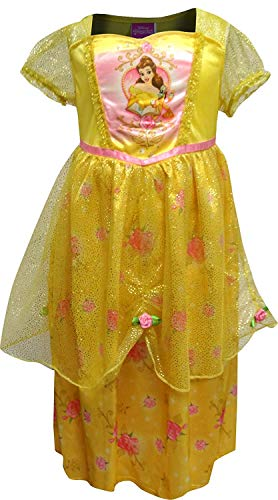 Disney Girls' Princess Belle Fantasy Nightgown, Yellow 4 (18-zoll-puppe Disney Princess)