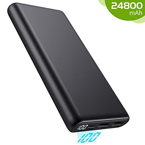 Kilponen Batterie Externe 24800mAh Portable Chargeur Grande Capacité pour Déplacement, Power Bank Charge Rapide écran LCD 2 Ports USB Sortie Batterie de Secours Compatible avec Smartphones/Tablettes