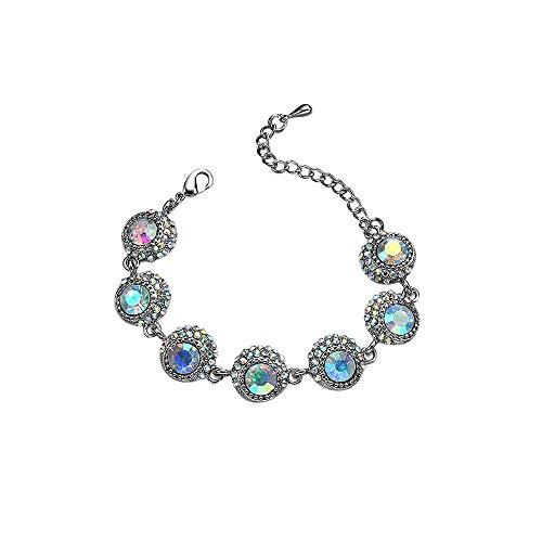 Mypace Silber Gold 925 Armreif Für Damen Herren Frauen Pearl Styles Crysta Fashion Spot Rhinestone Charm Armband (Pearl-kreuz-armband)