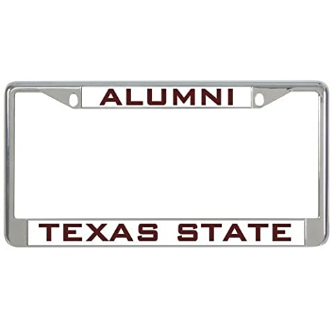 IMG Texas State Metal License Plate Frame in Chrome Alumni/Texas State