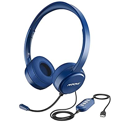 Mpow PC Headset, Multi-Use USB Headset & 3.5mm Chat Headset Gaming Headset VOIP Headset In-line Control for Mac PC Moblie Phone (Built-in Noise Reduction Sound Card)