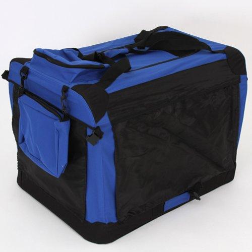 Hundetransportbox Hundebox  Hunde Katzen Transportbox 70cm x 52cm x 52cm Faltbar Blau - 6