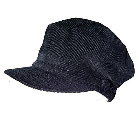 En Velours Côtelé Baker Boy Chapeau Noir Mesdames Rétro Mod Unisexe Breton Bonnet d'hiver - noir - Large