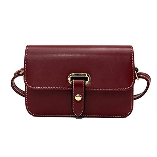 LUOEM klein Umhängetasche Geldbeutel PU-Leder Crossbody Tasche Mode Schulter Handtasche Damen Mädchen (Dunkelrot) -