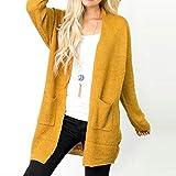 ITISME Damen Strickjacke Frauen-beiläufige Lange Hülsen-Feste Strickjacke-Strickjacke-Mantel mit Taschen Damen Sweatershirt Pullover Outwear Strickpullover