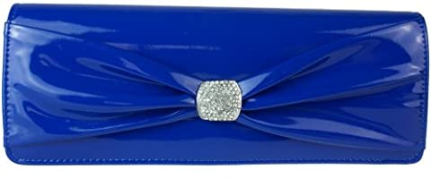 Girly HandBags Royal Blue Patent Clutch Bag Diamante Glossy Bow Pleated Evening Bag Wedding - Royal Blue - W 12 ,H 6 ,D 2 inches
