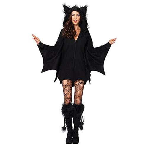 BERTHACC Halloween Fledermaus Kostüm,Damen Halloween Kostüm Cosplay Kostüm Karneval,Halloween Frauen Plus Größe Gemütliches Fledermaus Reißverschluss Kleid Kostüm,Schwarz,S