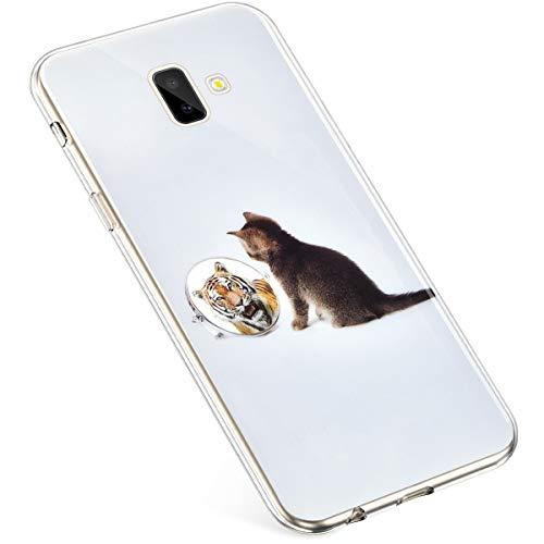 Uposao Kompatibel mit Samsung Galaxy J6 Plus 2018 Hülle Durchsichtige Handyhülle Bunt Muster Crystal Clear Transparent Silikon TPU Case Ultra Dünn Weiche Stoßfest Schutzhülle,Katze Tiger