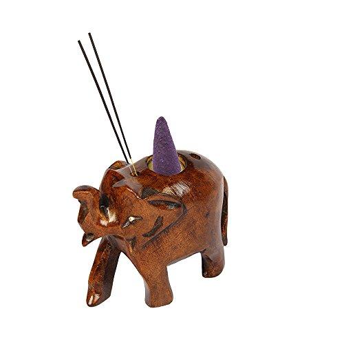 aheli Elefant Form geschnitzt Holz Räucherstäbchen Brenner Konus Halter mit oxodise Finish Home Duft Decor (Holz-räucherstäbchen-halter Aus Indien)