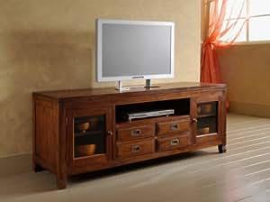 Mobile porta tv stile etnico coloniale moderno realizzato artigianalmente in legno massello di - Mobile porta tv etnico ...