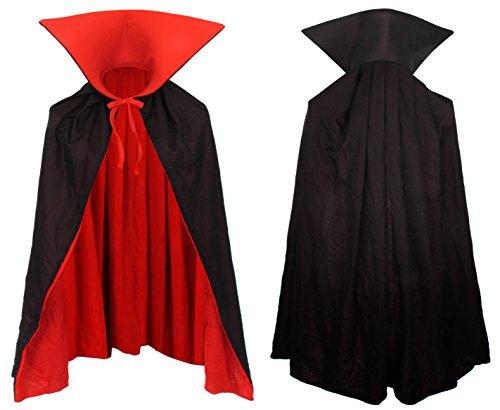 Imagen de vampiro capa de giro capa con cuello alto negro rojo de 90 cm de largo capote de traje de niño o adulto drácula cabo, las familias de disfraces alternativa
