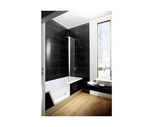 Repabad Easy-In M Badewanne mit Tür und Dusche 170 cm weiss Nische links Front Glas Rubin rot