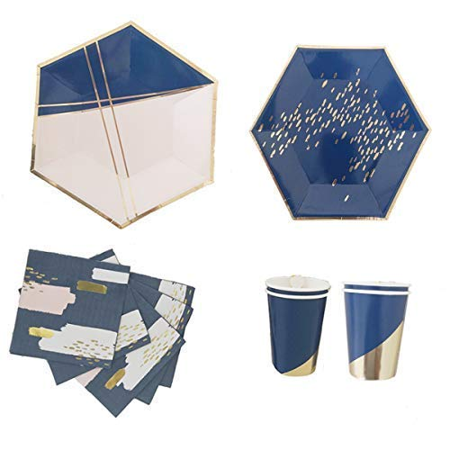 Polka Dot Sky Gold und Blau Folie Geburtstagsfeier Geschirr Packung Teller Becher Servietten Leuchtende Farben 8 Packung (32pcs)