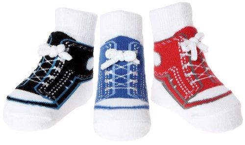Baby Emporio - 3 paia di Calzini-per Bambini- che sembrano le Scarpe - Bolsa di Regalo-Cotone-Suole antiscivolo-Cotone-0-9 Mesi