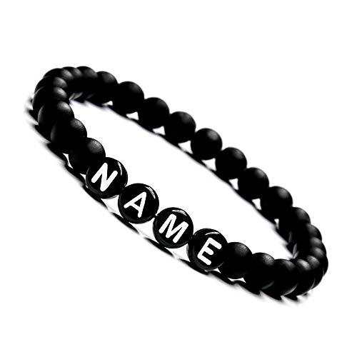 Armband mit Namen Personalisiert, Personalisierbare Perlen Armbänder für Pärchen, Onyx Perlenarmband für Paare I Partnerarmband mit Wunschgravur