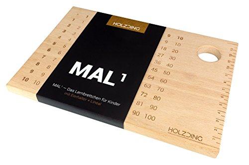 HOLZDING Frühstücksbrett 1x1 zum Lernen für Kinder mit Eierhalter + Lineal als Geschenk Idee (MAL1-1x1 - Holz Brot Halter