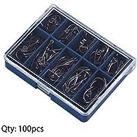 Dooret Durable 1 Juego 100 Unids 10 Tamaños 3# A 12# Negro Plata Ganchos de Pesca con Agujero Carp Carp Tackle Carry Caja