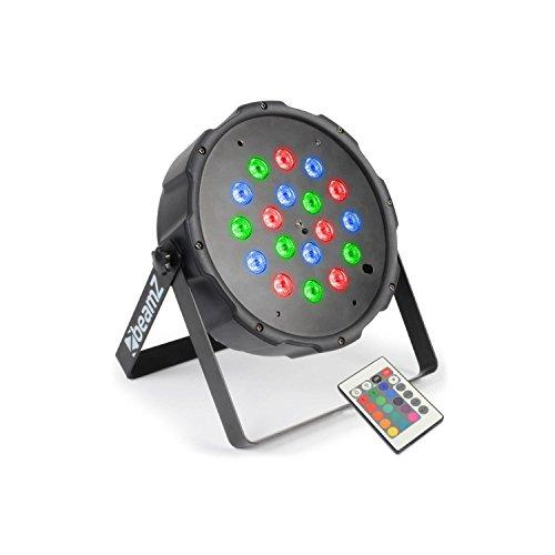 beamZ FlatPAR PAR-Strahler RGB Scheinwerfer Discostrahler (18 x 1W LED, DMX, mit Fernbedienung, Musiksteuerung) schwarz