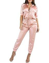 DD&Clothes Femme simple Sexy Chic de Rue Taille Haute Sortie Décontracté / Quotidien Vacances Combinaison-pantalon,Mince Couleur Pleine Printemps Eté