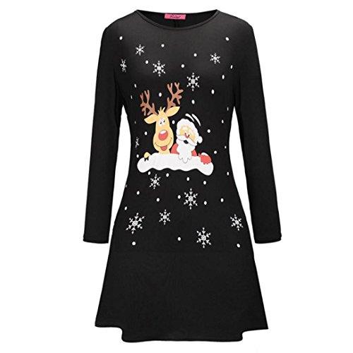 Damen Weihnachtskleid Sonnena Christmas Kleider Langarmshirt Xmas Elch Gedruckt A-Line Swing Kleid Abendkleid Kleid Mini Kleid Partykleid Großen Cocktailkleid Dress (Schwarz, L)