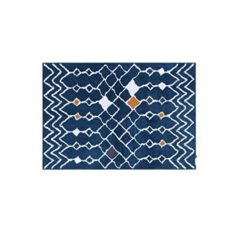 JXLBB Blaue marokkanische nordische Teppichmatte Einfache geometrische Druck 1.4x2m Couchtisch Pad Dicke 10mm Polyester Weiche Verdickung